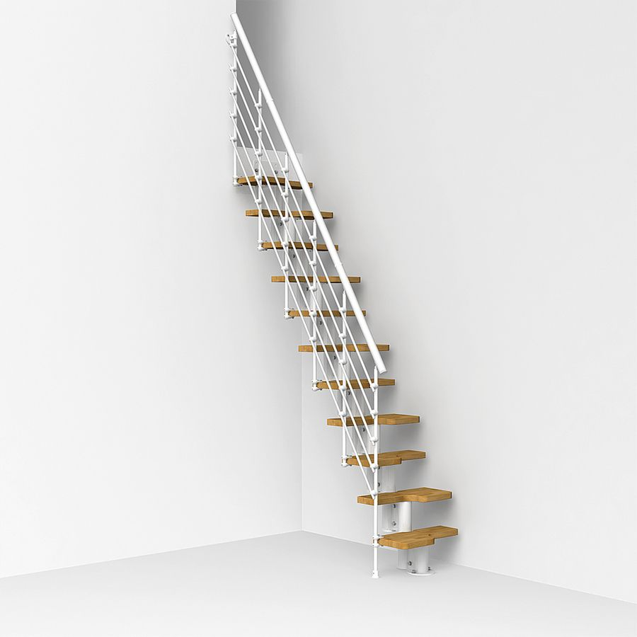 Arke Oak Xtra X 9 1 Ft White Modular Staircase Kit Modular Staircase Staircase Kits Space Saving Staircase
