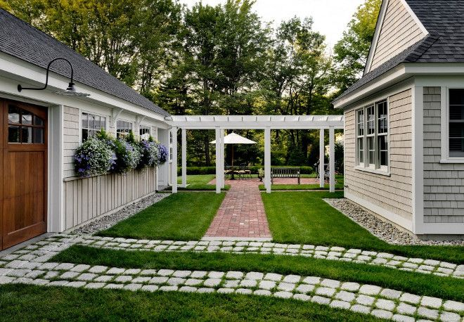 Carriage Garage Carriage Style Garage Detached Carriage Garage Landscaping And Pathway Between Ho Garage Pergola Diy Landscaping Around House House Exterior