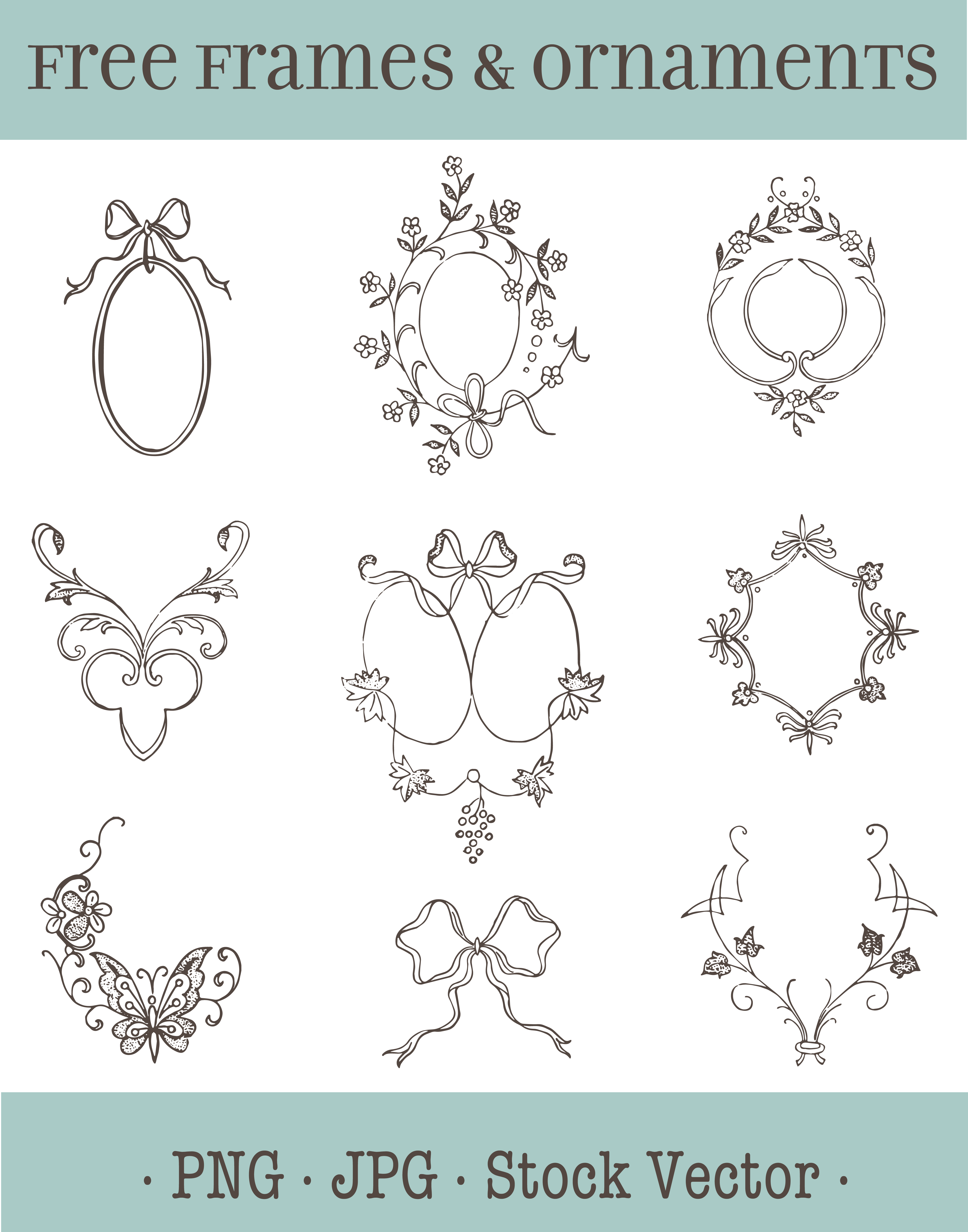 Wedding ornaments - This Clip Art Sheet Is Comprised Of Several Vintage Frames And Ornaments That Can Be Used For Making Wedding Invitations And Incorporated Into Hand Made
