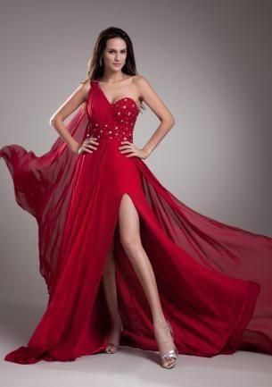 dae997bea Chifón cola larga vestido de noche 560513
