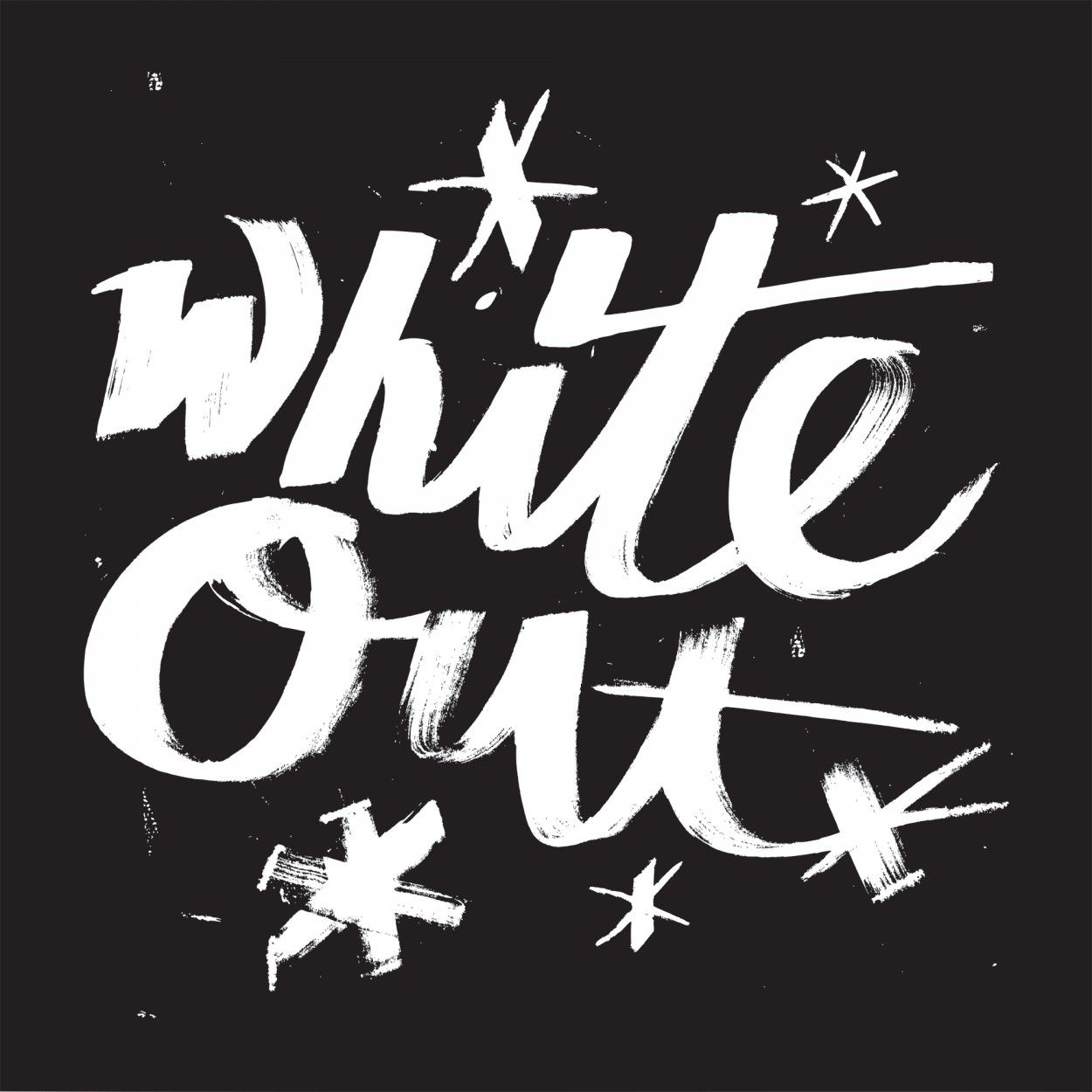 White Out. Hand brush script