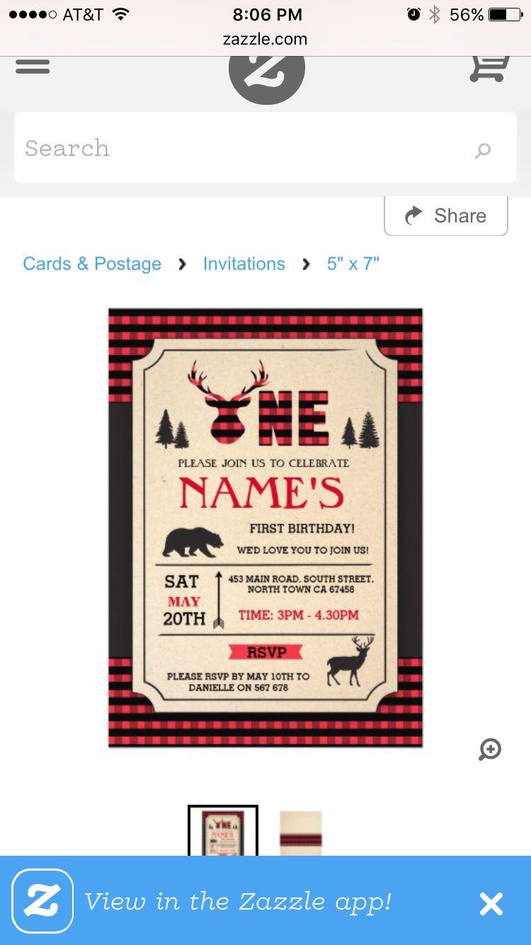 Lumberjack 1st birthday invite