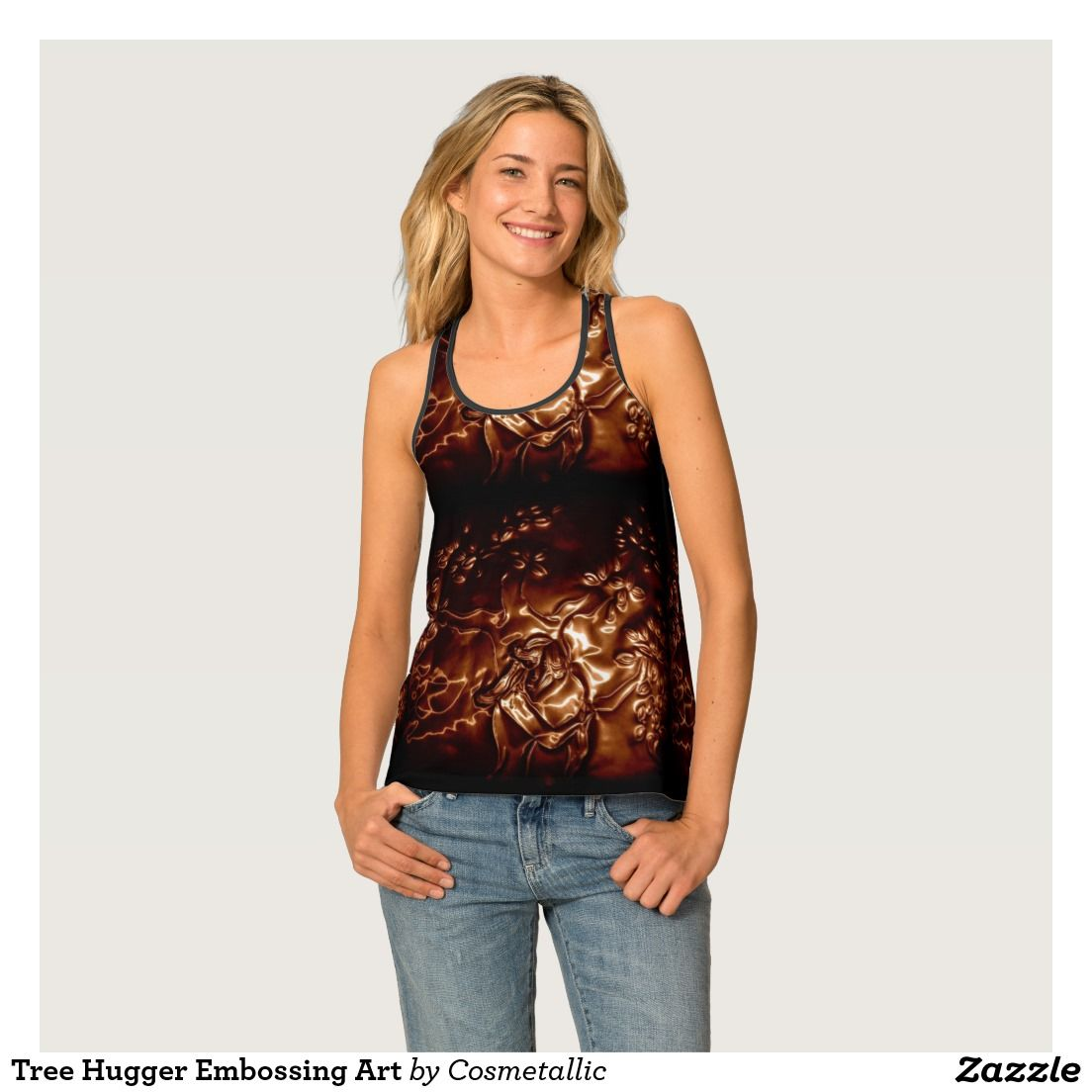 Tree Hugger Embossing Art Tank Top