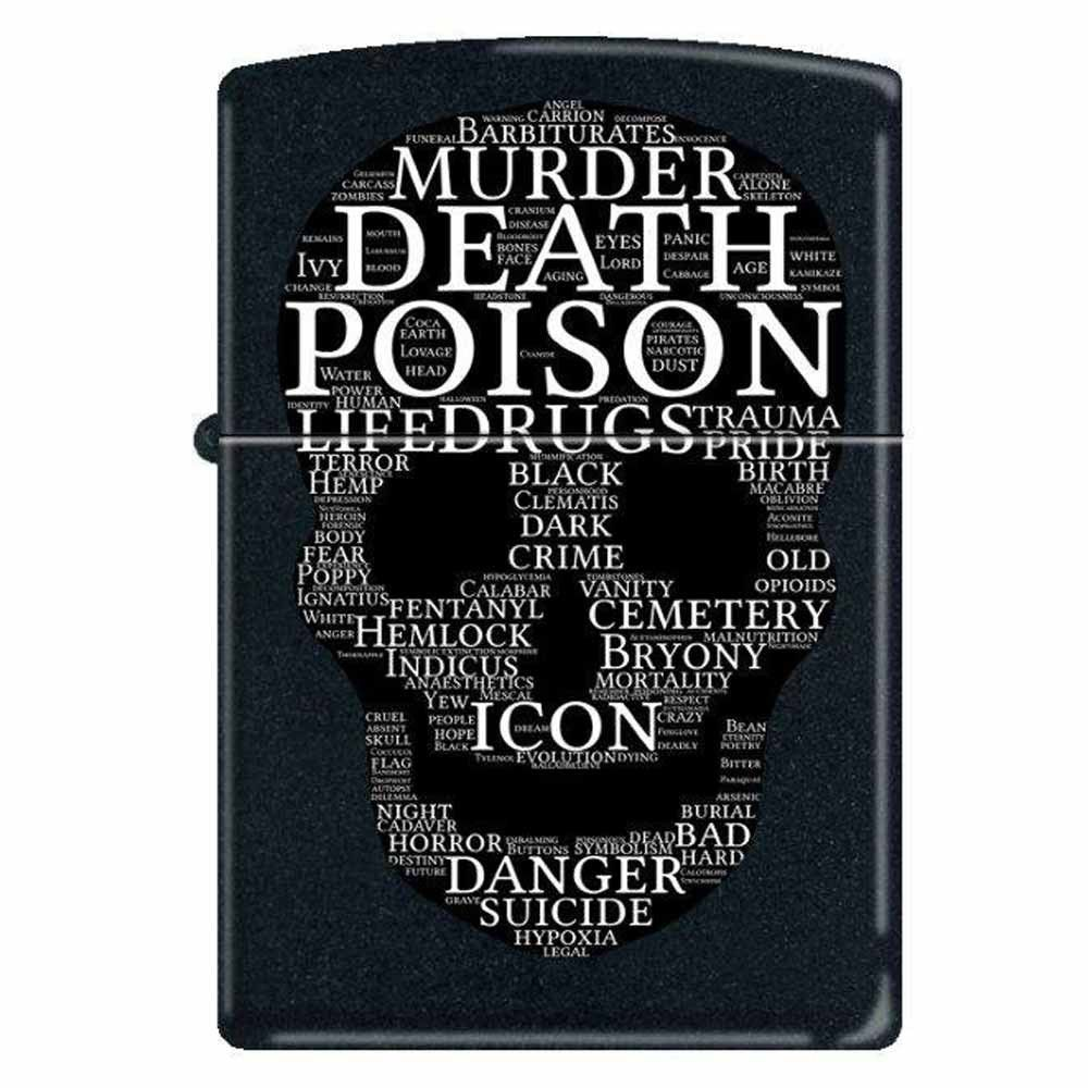 Zippo 1312 Classic Black Matte Skull-Words of Mayhem Windproof Pocket Lighter