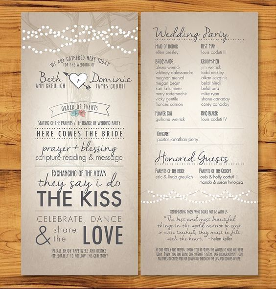 Long, Skinny Wedding Programs With Non-tradition Ceremony