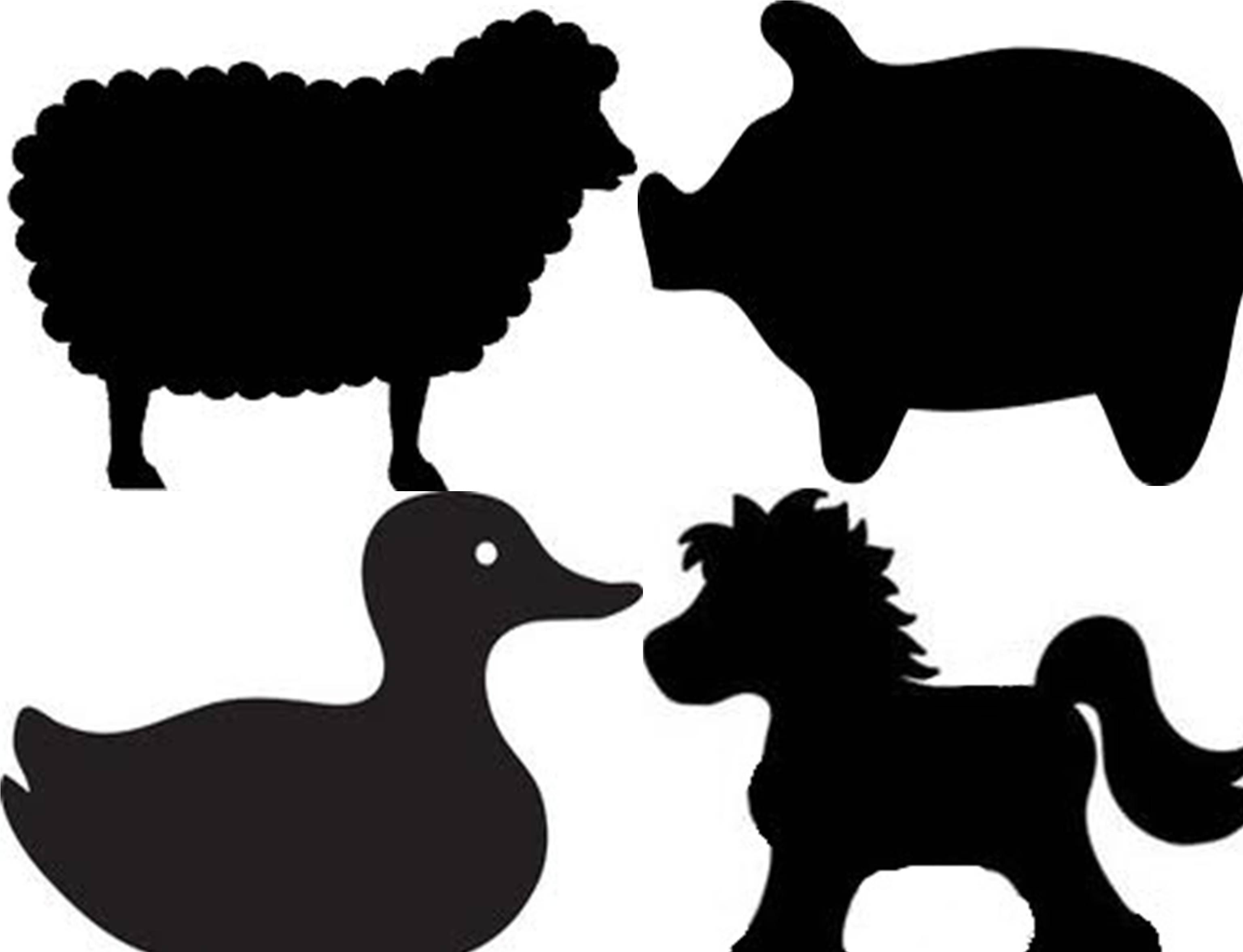 Farm animal silhouettes for barnyard birthday party ...