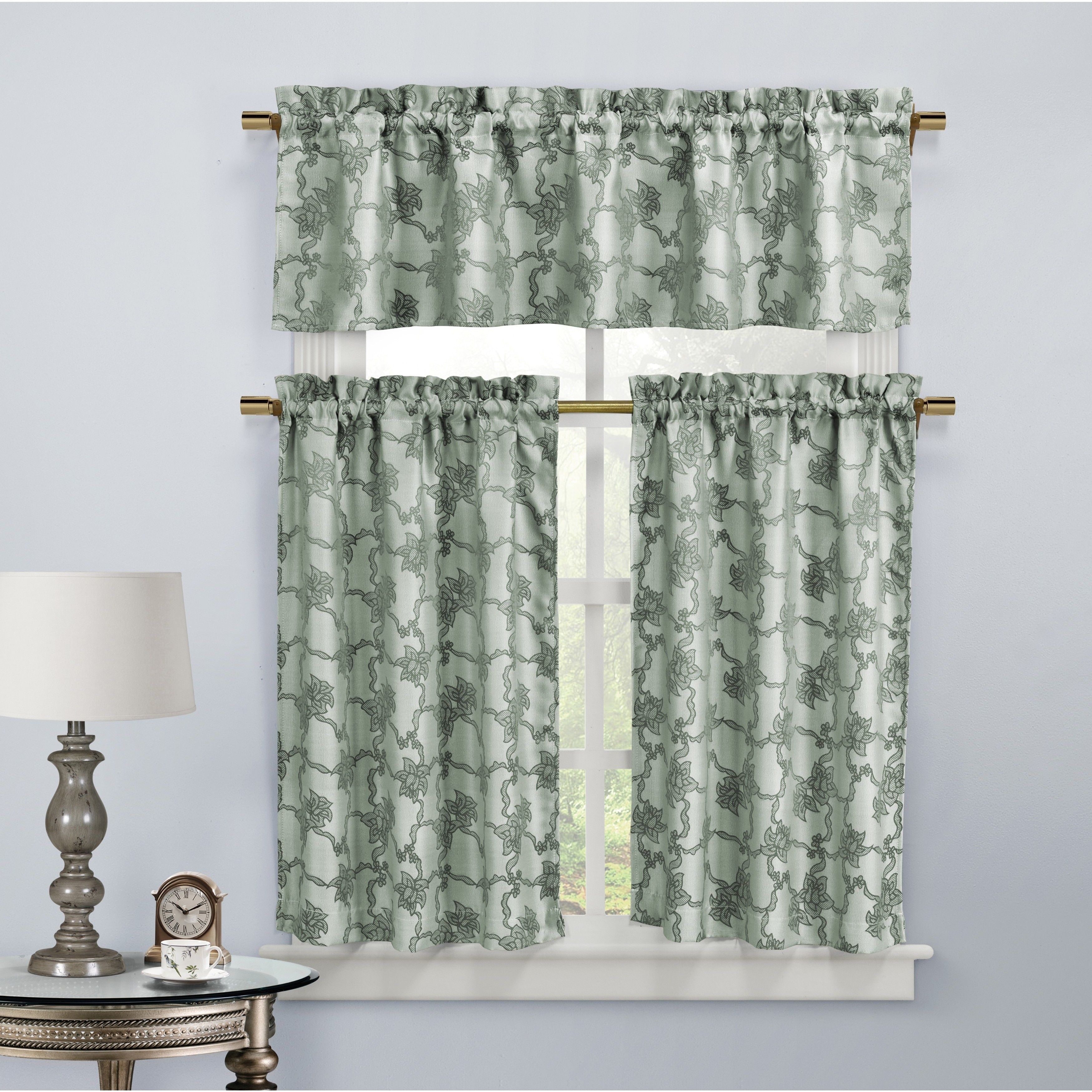 Duck river gala r p floral kitchen curtain taupe brown kitchen