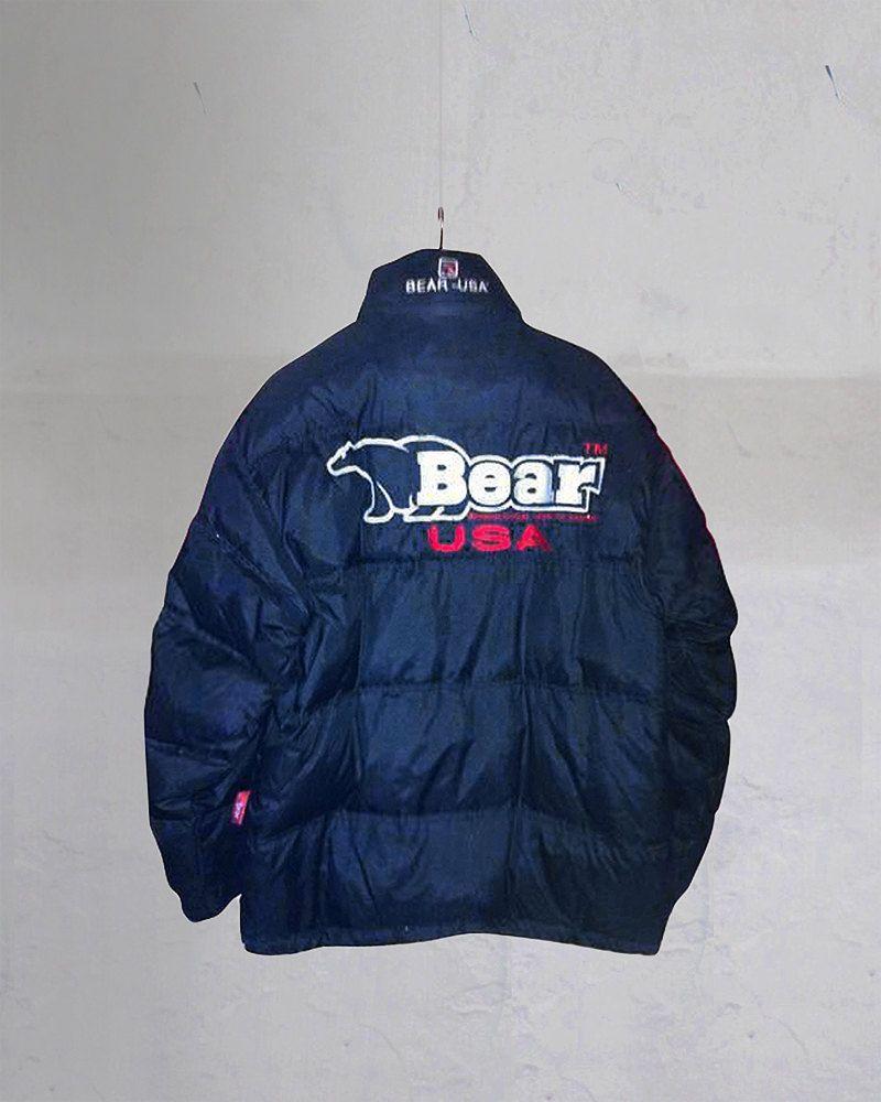 Vintage Bear Usa Big Logo Puffer Goose Down Jacket Dark Blue Size Xl By 90s Jacket Jackets Down Jacket