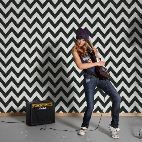 ZigZag Geometric Designed Wallpaper In Black And White Full Roll Amazoncouk DIY Tools