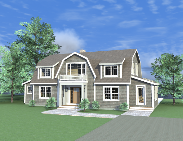 Tarrytown plan a post and beam dutch colonial dutch for Open beam house plans