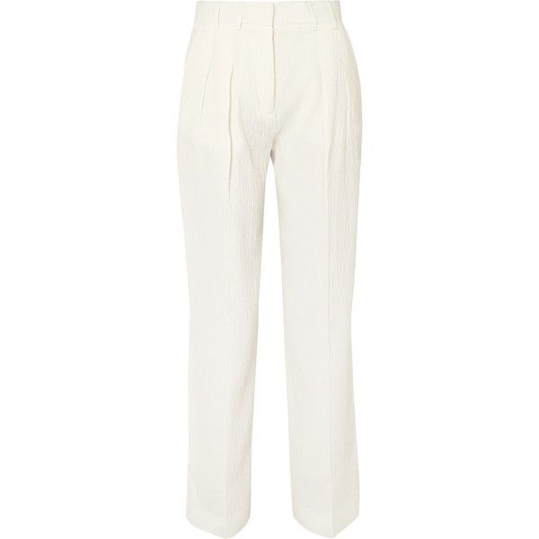 Pleated Seersucker Wide-leg Pants - White Victoria Beckham yQQAQpEg