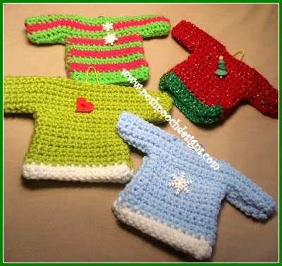 Posh Pooch Designs Dog Clothes: Mini Sweater Ornaments Crochet Pattern #dogcrochetedsweaters Posh Pooch Designs Dog Clothes: Mini Sweater Ornaments Crochet Pattern #dogcrochetedsweaters