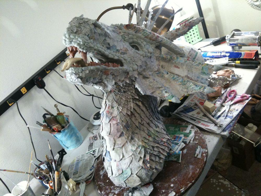 змей горыныч из папье маше своими руками фото области глаз сверху