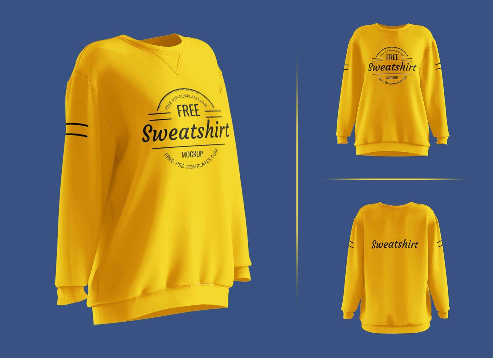 Free Long Sleeves Women S Sweatshirt Mockup Psd Set In 2021 Sweatshirts Sports Apparel Design Sweatshirts Women