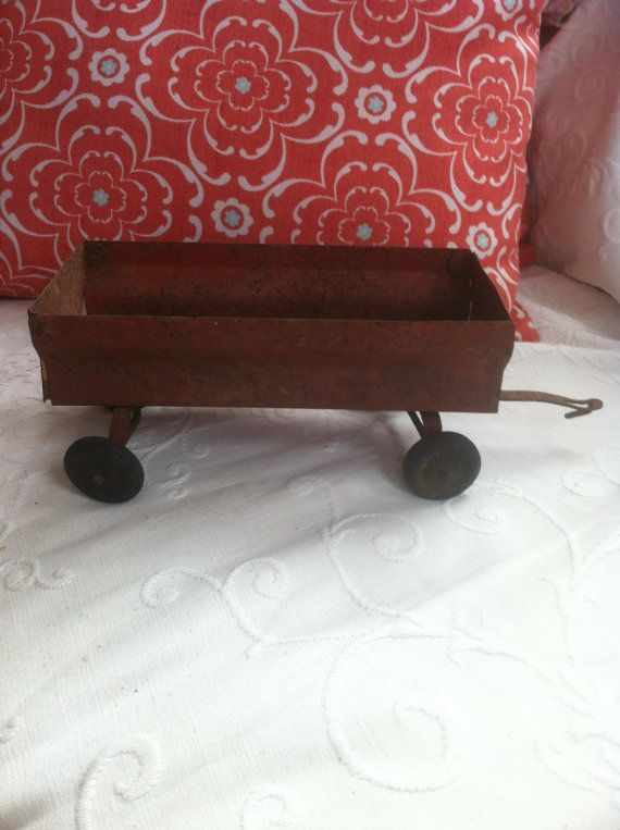 Vintage metal train wagon found in barn.