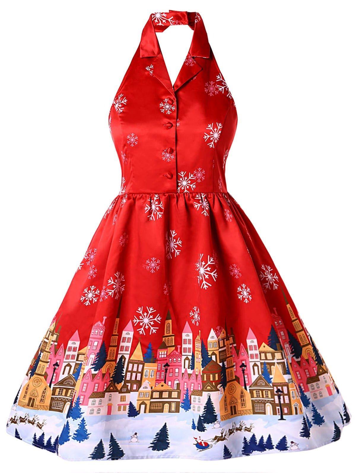 Plus Size Christmas Print Vintage Dress Vintage Red Dress Vintage Dresses Vintage Halter Dress [ 1596 x 1200 Pixel ]