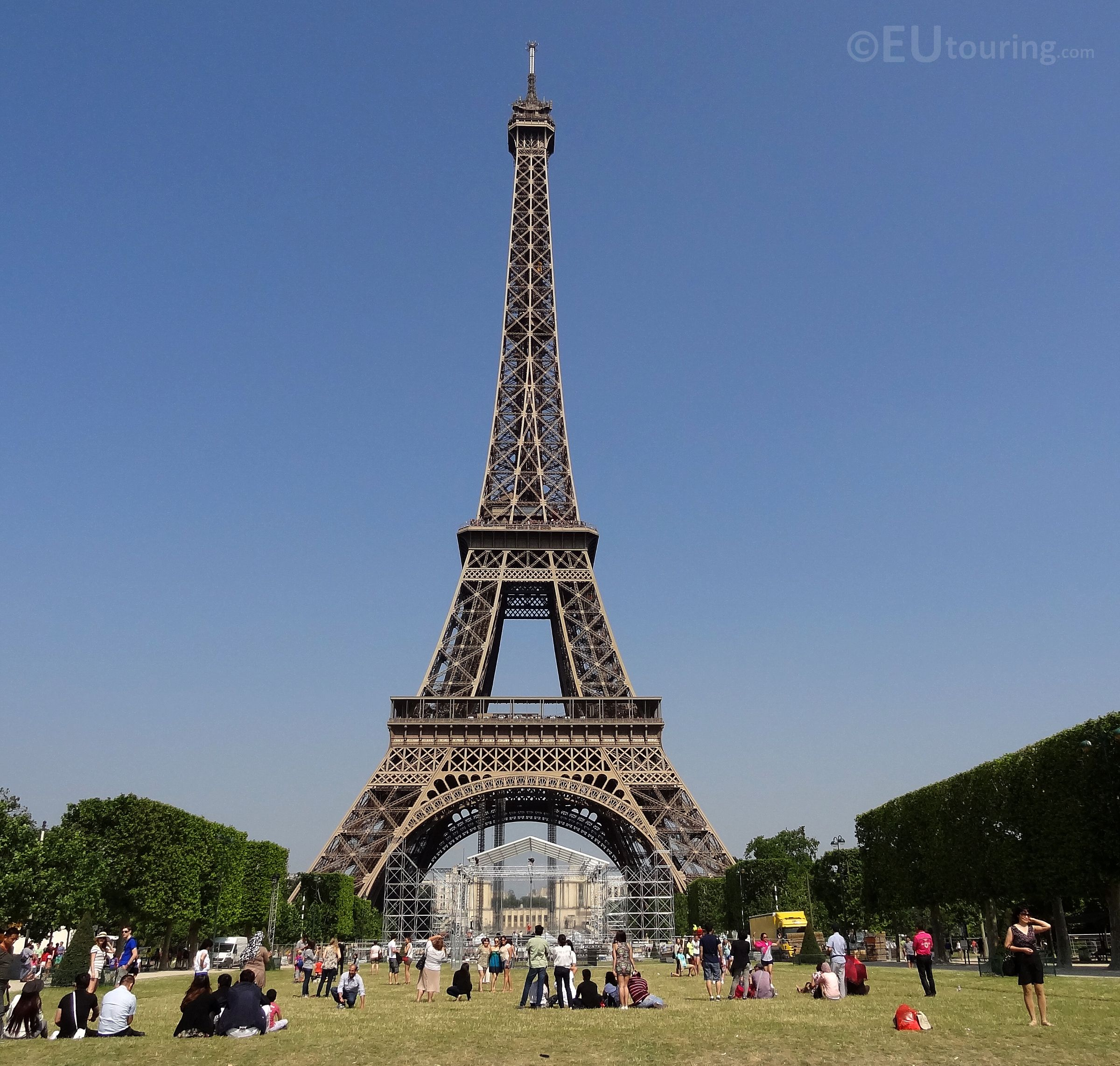 The Champ de Mars Park on one side of the Eiffel Tower has