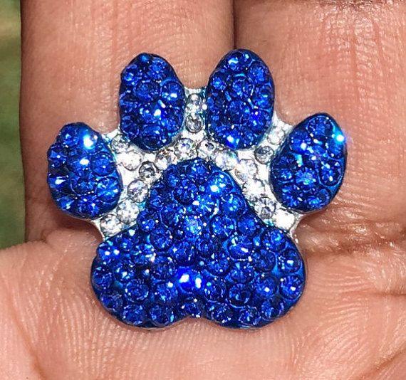 Puppy Paw Print, Blue & White Swarovski Crystal Noosa Snap ...