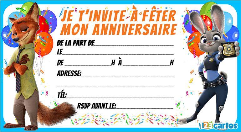 3 Invitations anniversaire zootopie - 123 cartes | Invitation anniversaire à imprimer ...