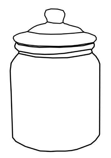 A graphic of an outline of a cookie jar pattern ot cut out