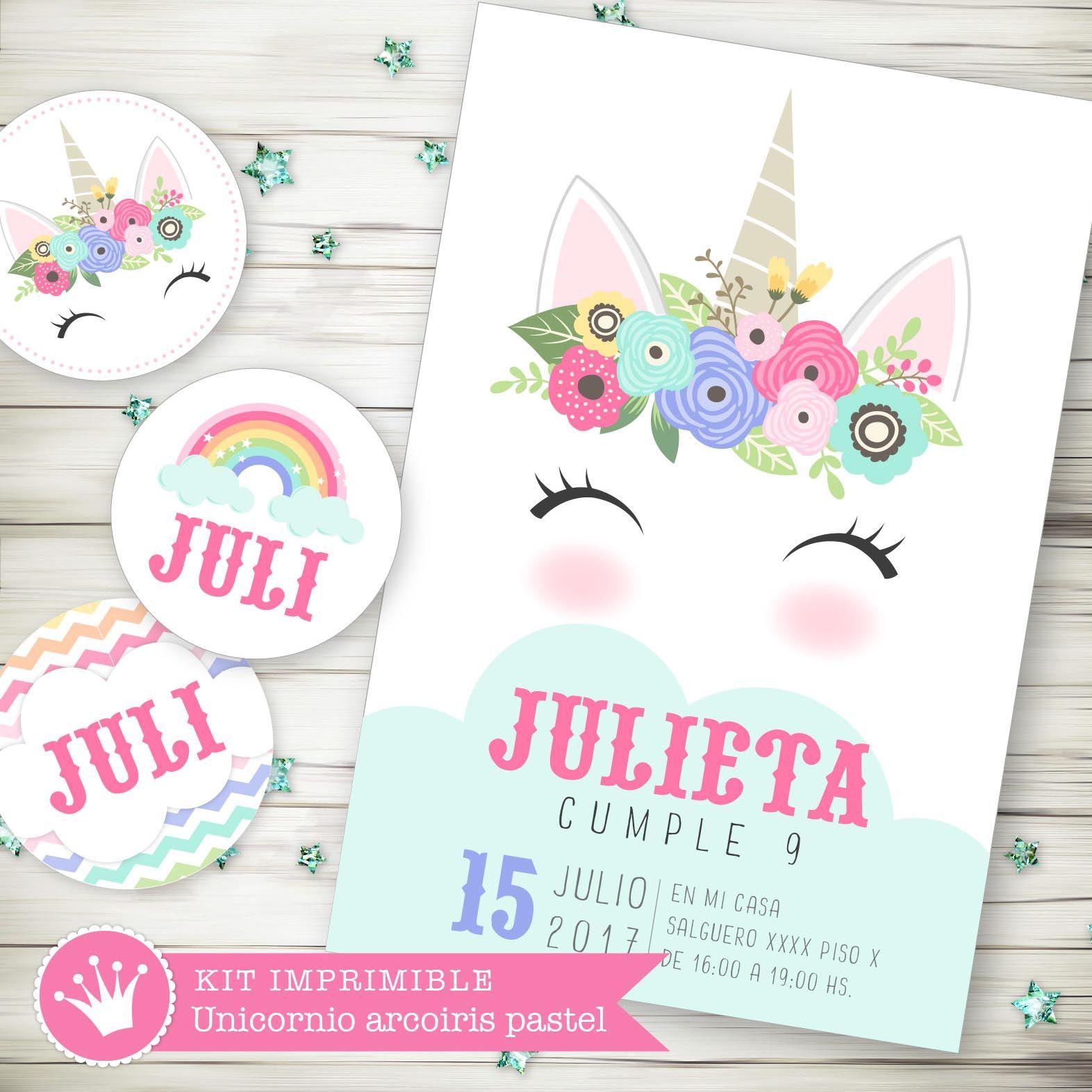 Kit imprimible digital para cumpleaños unicornio con flores pastel ...