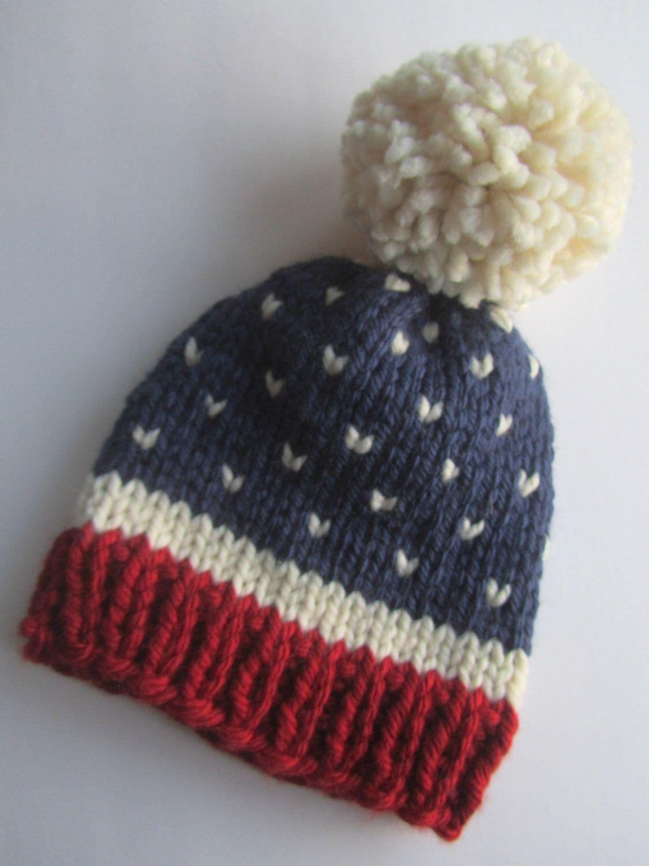 Fair Isle Knitting Hat : Fair isle knit hat red white blue usa