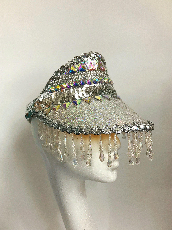 Festival Embellished Silver Sequin + AB Rhinestone Crystal Visor Hat. Carnival Burning Man Costume Mardi Gras Space Futuristic Holographic