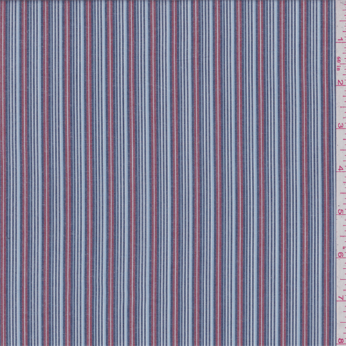 Navy, pale blue, dark red and white stripe. Lightweight cotton fabric.Compare to $12.00/yd