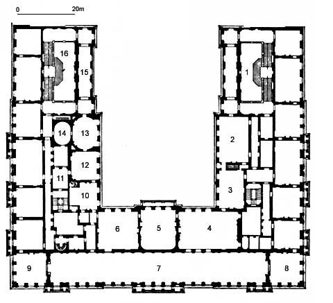 bild grundriss obergeschoss 1 prunktreppenhaus 2 hartschiersaal 3 erstes vorzimmer 4 zweites. Black Bedroom Furniture Sets. Home Design Ideas