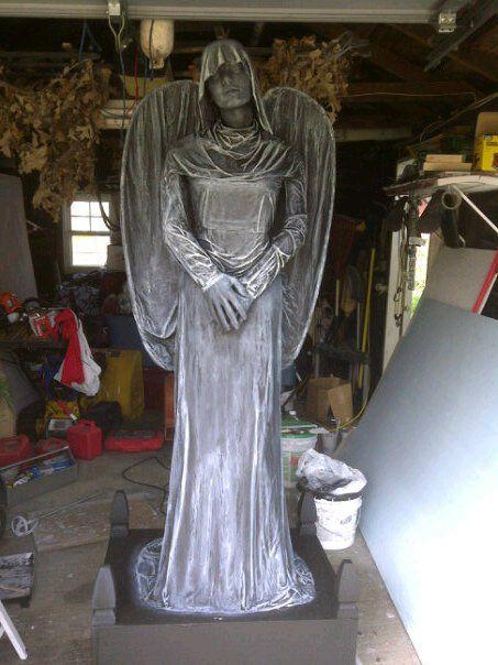 Statue That We Made For Halloween 2011 Halloween Tombstones Halloween Graveyard Angel Statues