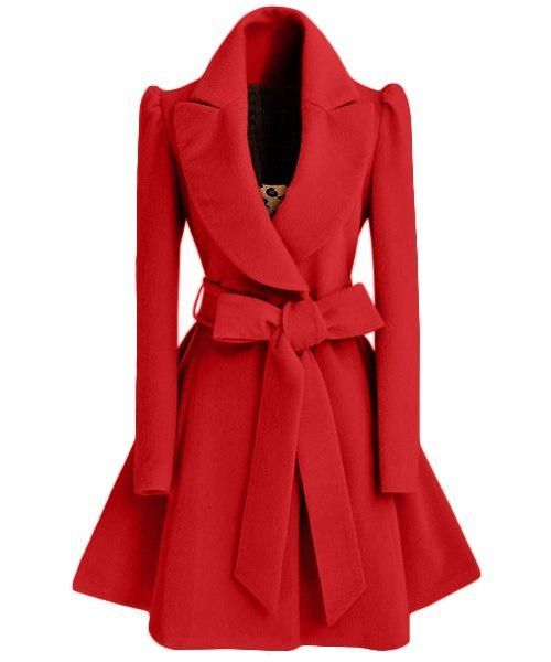 Turn-Down Collar Long Sleeve Pure Color Self Tie Belt Coat