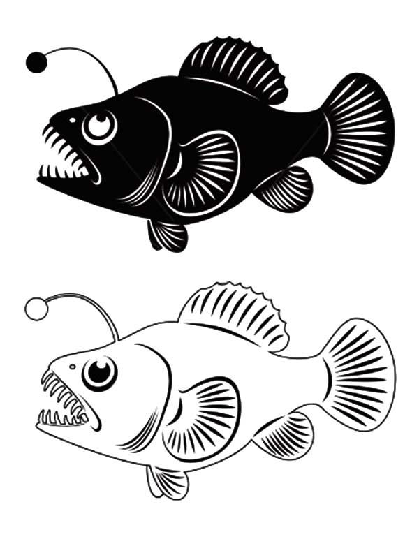 Angler Fish Clip Art Coloring Pages Best Place To Color Angler Fish Fish Coloring Page Coloring Pages