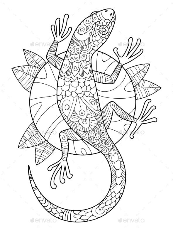Lizard Coloring Book For Adults Vector Animals Characters