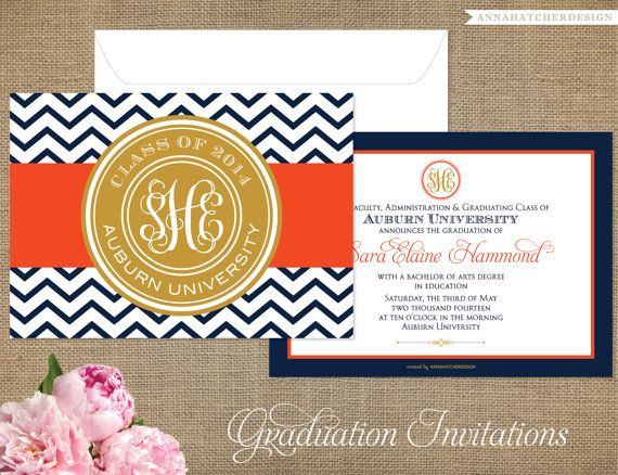 Monogrammed graduation announcementgraduation invitation any monogrammed graduation invitations high school or college your school colors diy printable or high quality printed invites on etsy 2200 filmwisefo