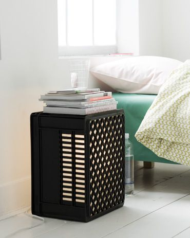 plastic crate side table