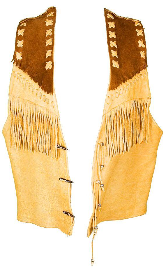 1960s OS Native American Leather Unisex Vest Fringe Western Cowboy Country Indian Bohemian Boho Festival Tribal Hippie Coachella Burning Man
