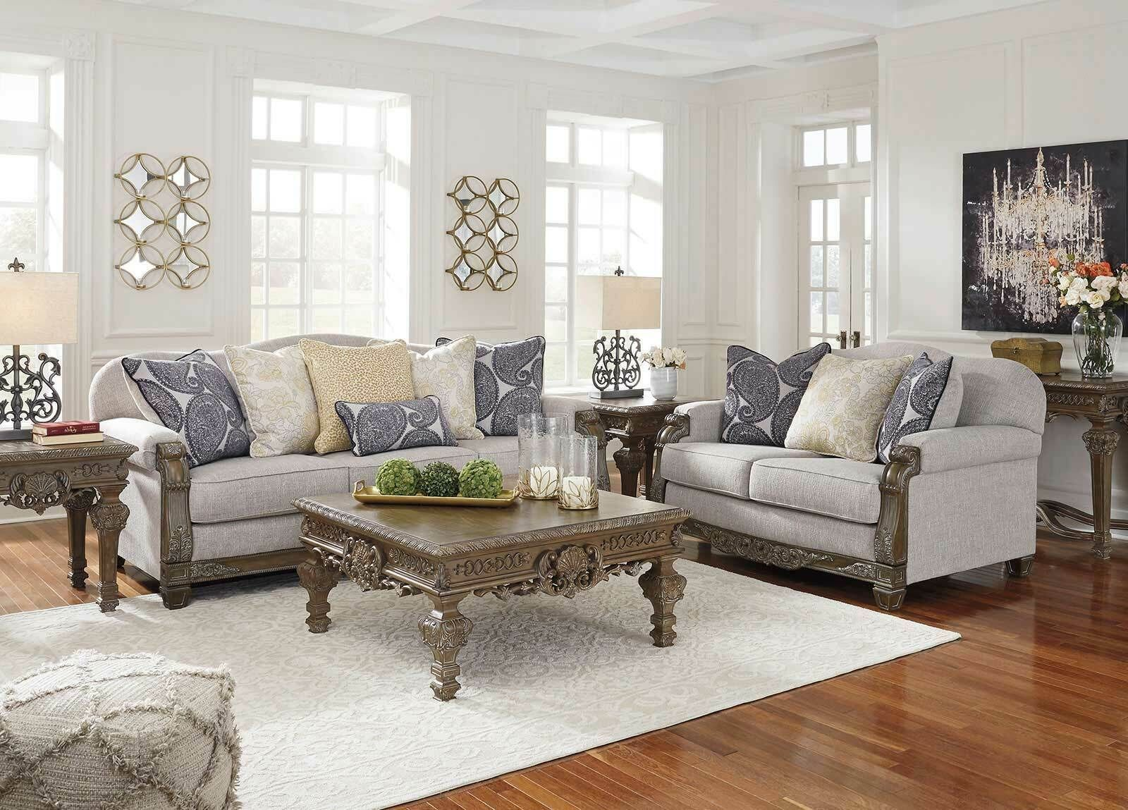 NEW Traditional Gray Chenille Wood Trim Living Room Sofa ...