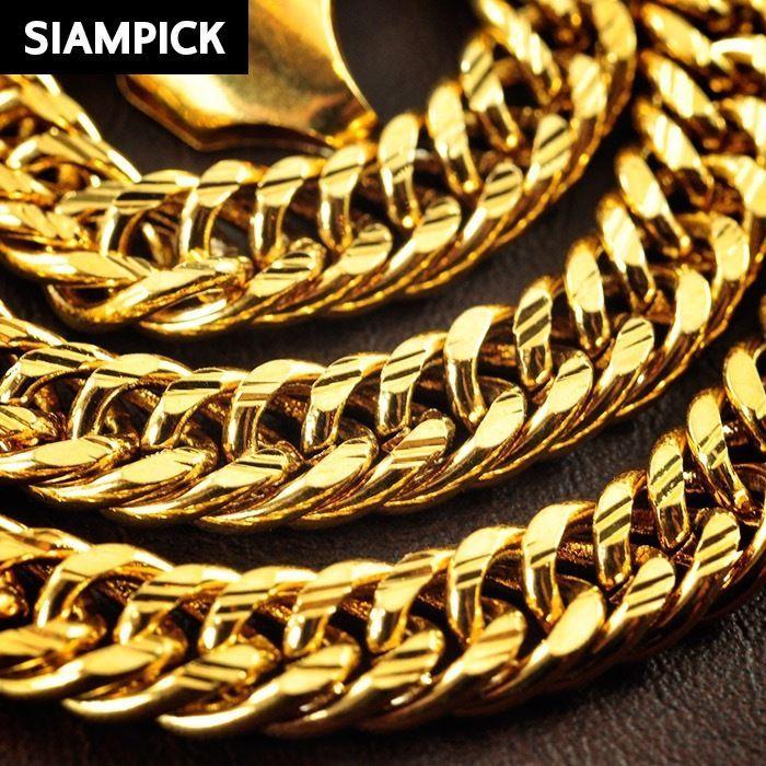 24 Inch Thai Baht 22k 24k Yellow Gold Gp Curb Hip Hop Bling Chain Necklace N028 Hip Hop Bling Gold Chain