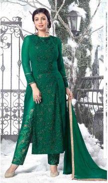 35c7953efa Bollywood Actress Ayesha Takia Achkan Style Salwar Kameez in Bottle Green |  FH545181747 Follow Us @