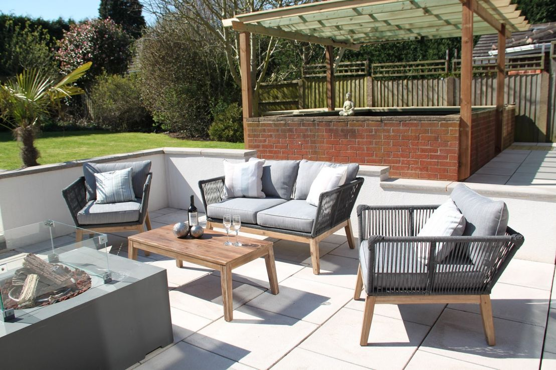 Canterbury Rope 4PC Outdoor Garden Sofa Set - Grey