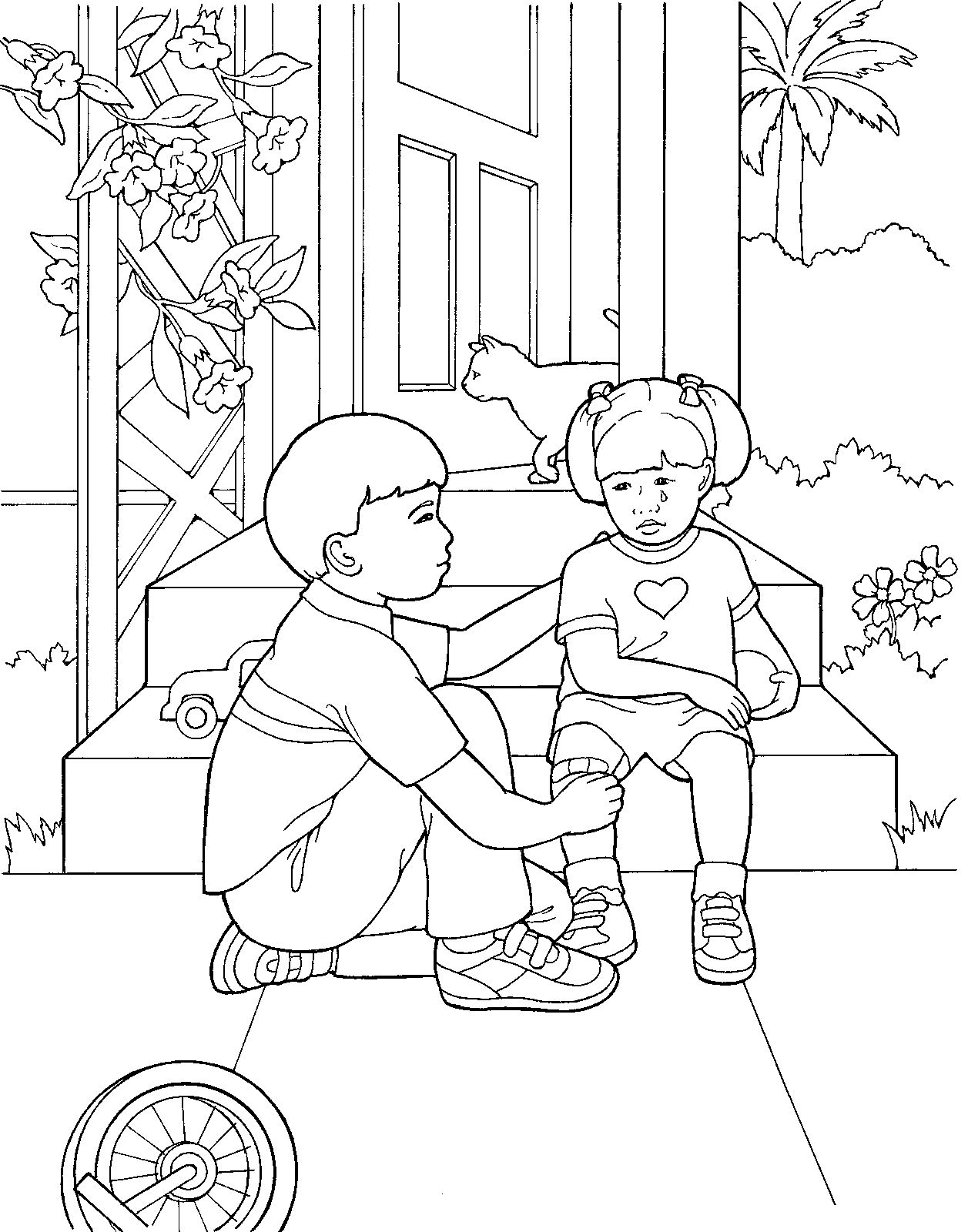 Primary coloring page from lds.org. A little boy comforts
