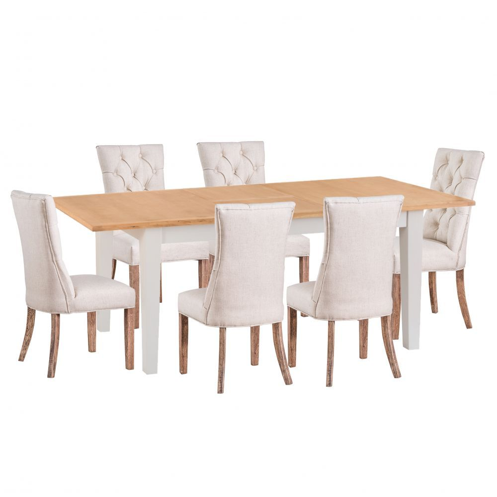 Chester Grey Painted Oak 1 6m Butterfly Extending Table And 6 Regent Beige Button Back Chairs Table Grey Table Grey Paint