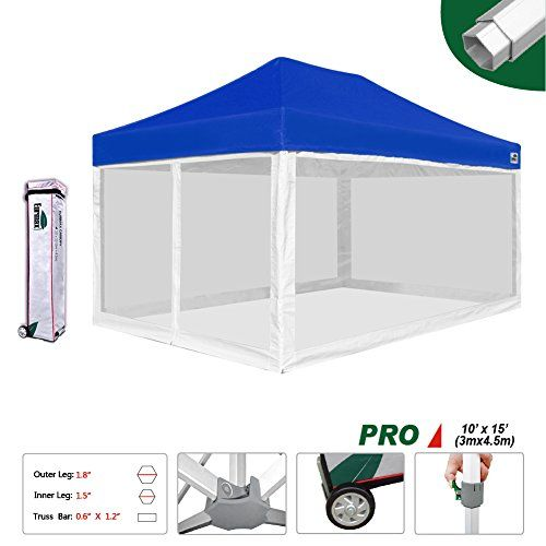 Eurmax 10x15 Feet High Commerial Grade Pop Up Canopy Instant Shelter Outdor Party Tent Gazebo With 4 Removable Zipper Scr Gazebo Tent Camping Tent