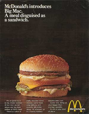 Take a deep breath, then: 2 all beef patties special sauce lettuce cheese pickles onions on a sesame seed---bun.