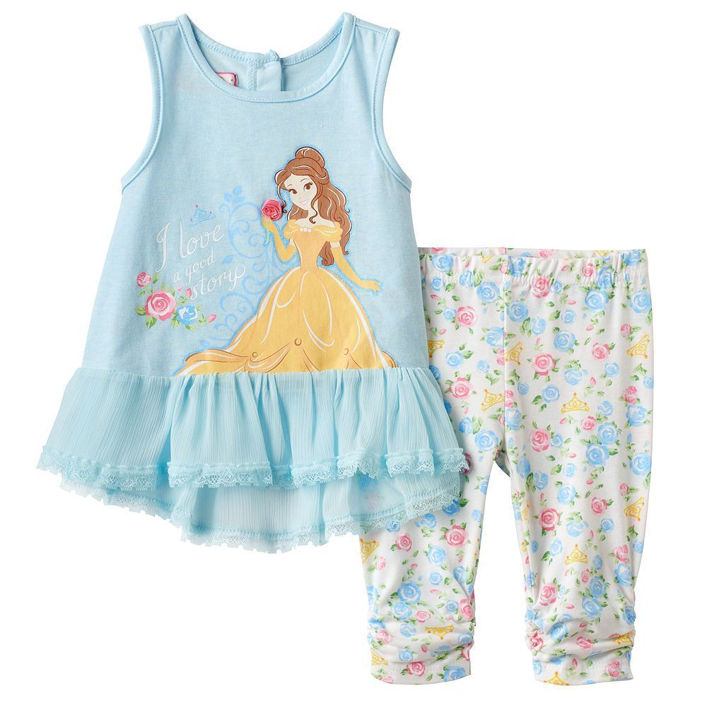 Disney's Beauty & the Beast Baby Girl Belle Tank Top & Floral Capris Set, Size: 18 Months, Blue