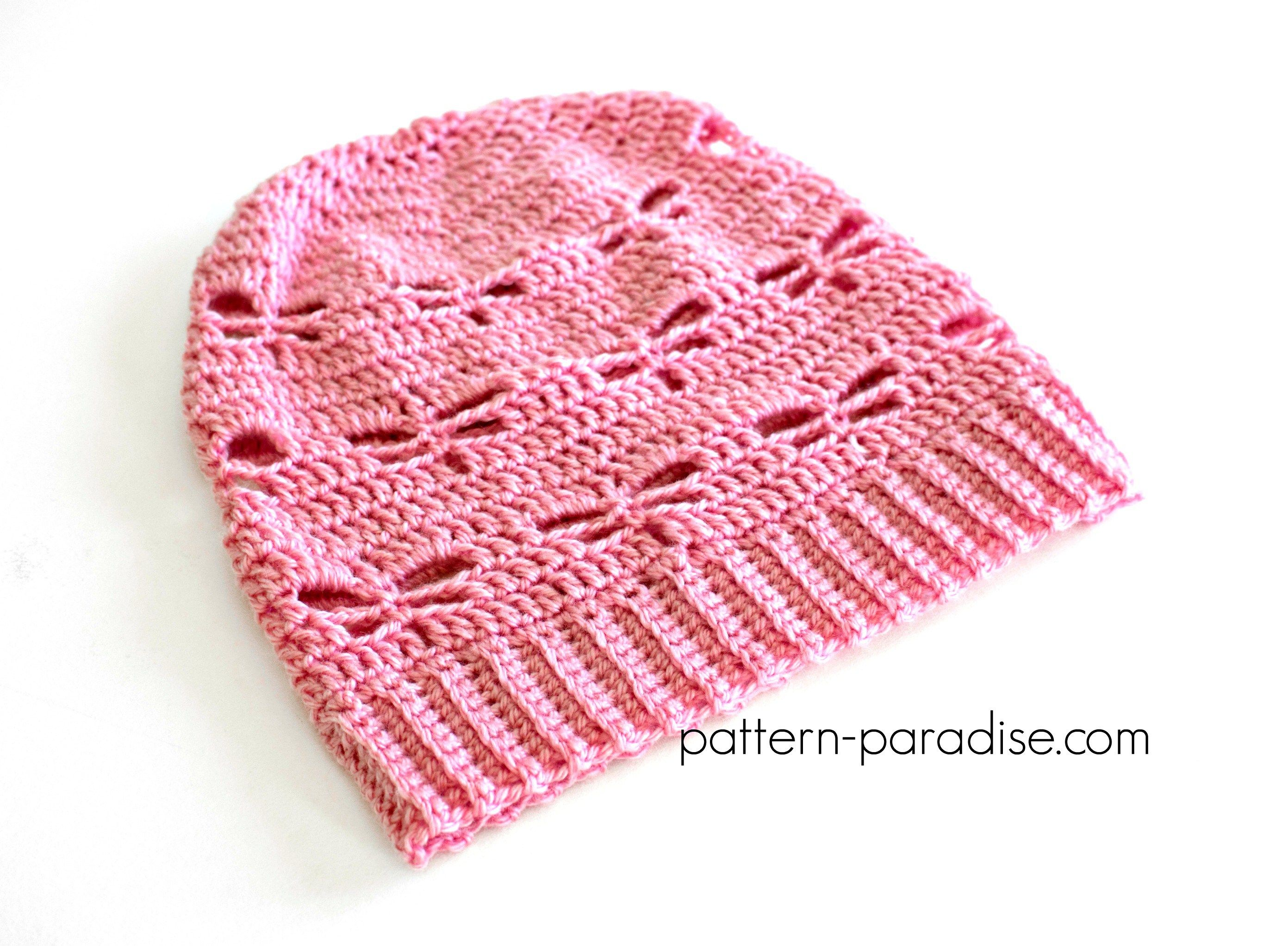 Free crochet pattern for Dragonfly Slouchy hat designed by pattern ...