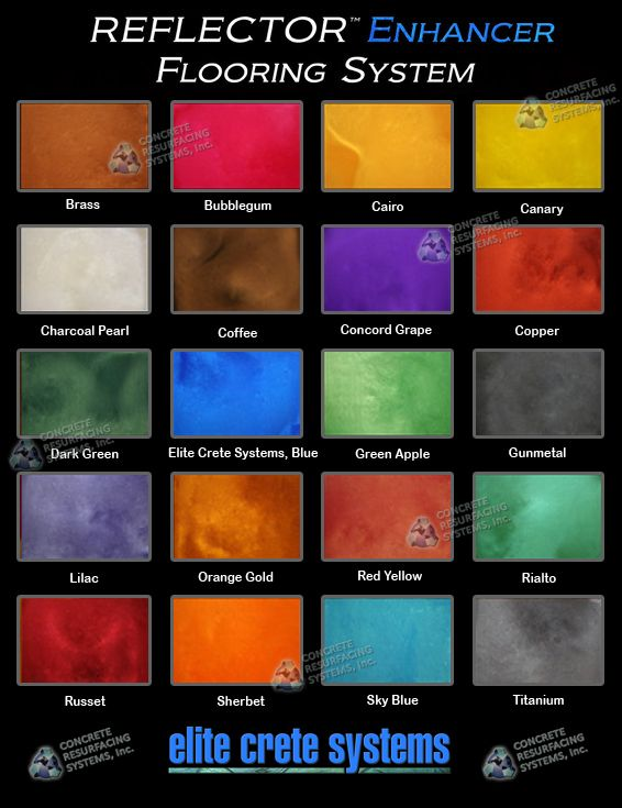 Elite Crete Reflector Enhancer Color Chart Google Search Epoxy Floor Coating Epoxy Floor Floor Coating