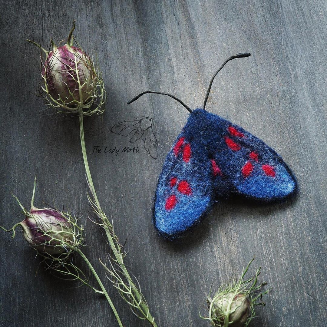 "Żenia on Instagram: ""Burnet moth brooch, 3 x 2.5 inches, currently looking for a new home x #fibreart #needlefelt #needlefelted #natureinspired #fibreartist…"""