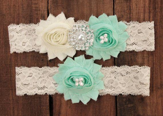 White Lace Lace Garter Mint Blue Wedding Blue Keepsake Garter Bridal Garter Garter Sea Foam Wedding Garter Set Toss Garter