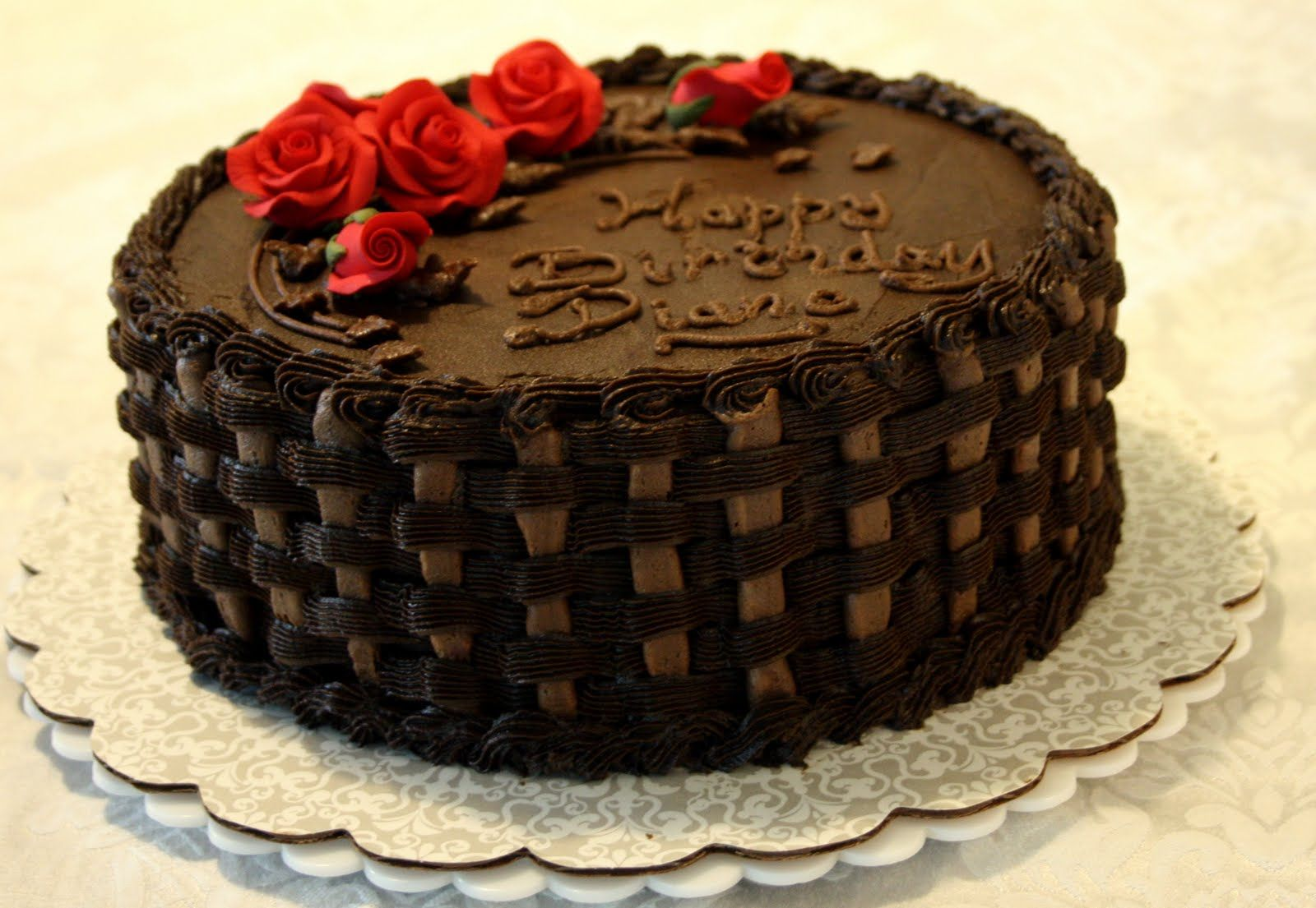 Chocolate cake with red roses | Happy birthday | Pinterest ...